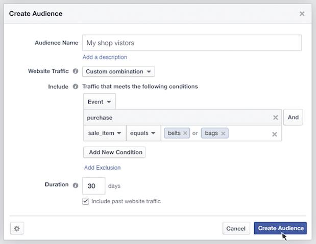 facebook ads publico personalizado para o seu site