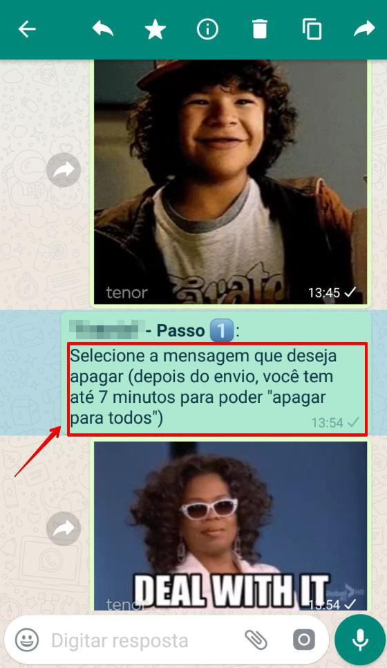 Possibilidade de apagar mensagem no WhatsApp - Passo 1 - Selecione a mensagem