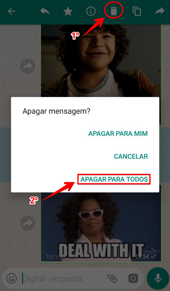 Possibilidade de apagar mensagem no WhatsApp - Passo 2 - Clique na lixeira e apagar para todos
