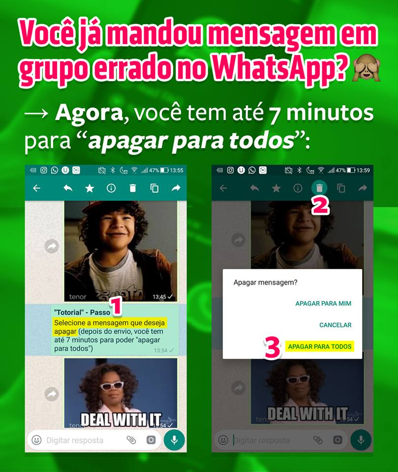 Agora, você pode apagar mensagens para todos no WhatsApp