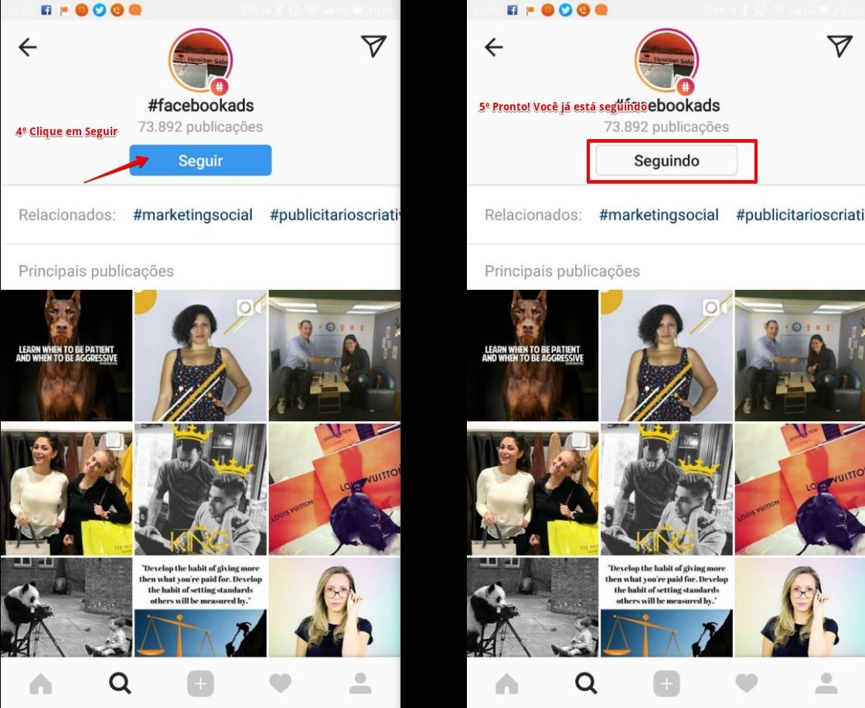 Passo 2: Como seguir hashtag no Instagram