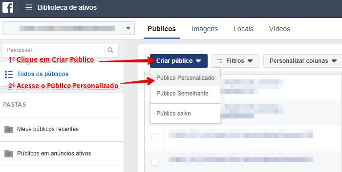 Passo 1 - Clique em Criar Público e, depois Publico Personalizado