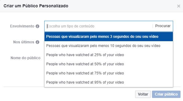 Passo 4 - Selecionar opção: Pessoas que visualizaram pelo menos 3 segundos do seu vídeo