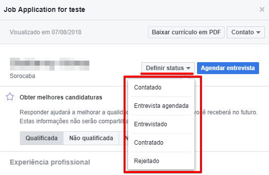 Como gerenciar as candidaturas de vagas enviadas pelo Facebook - Passo 3