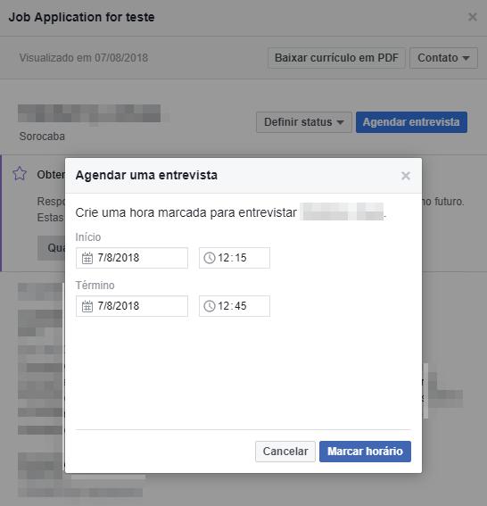Como gerenciar as candidaturas de vagas enviadas pelo Facebook - Passo 4