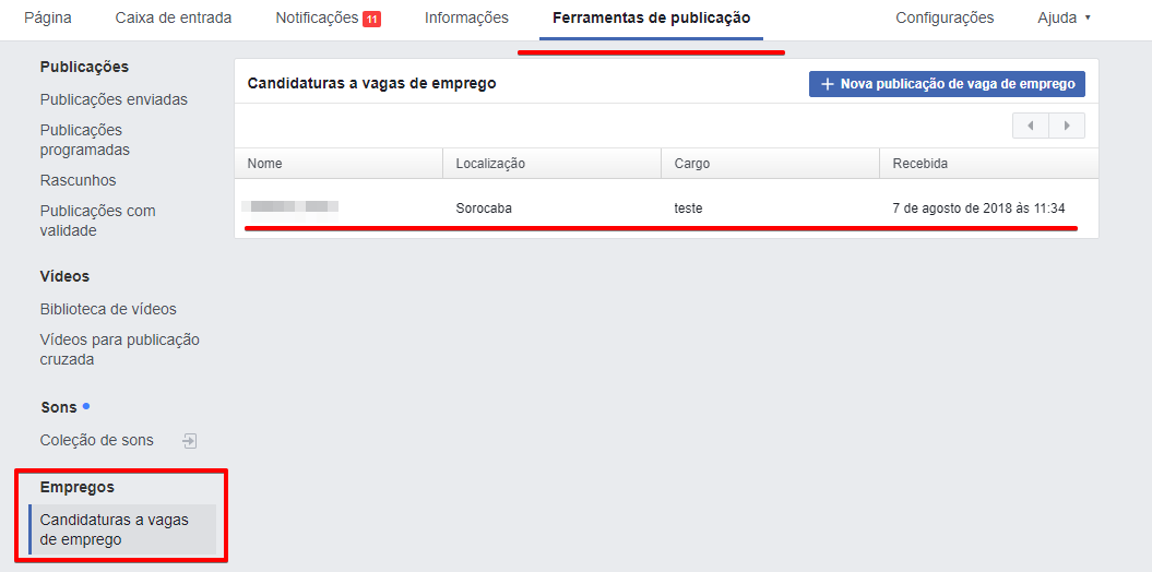 Como gerenciar as candidaturas de vagas enviadas pelo Facebook - Passo 1