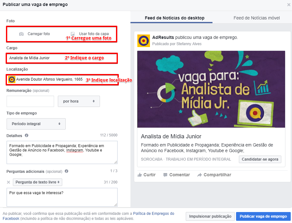 Como anunciar uma vaga de emprego pelo Facebook - Passo 3