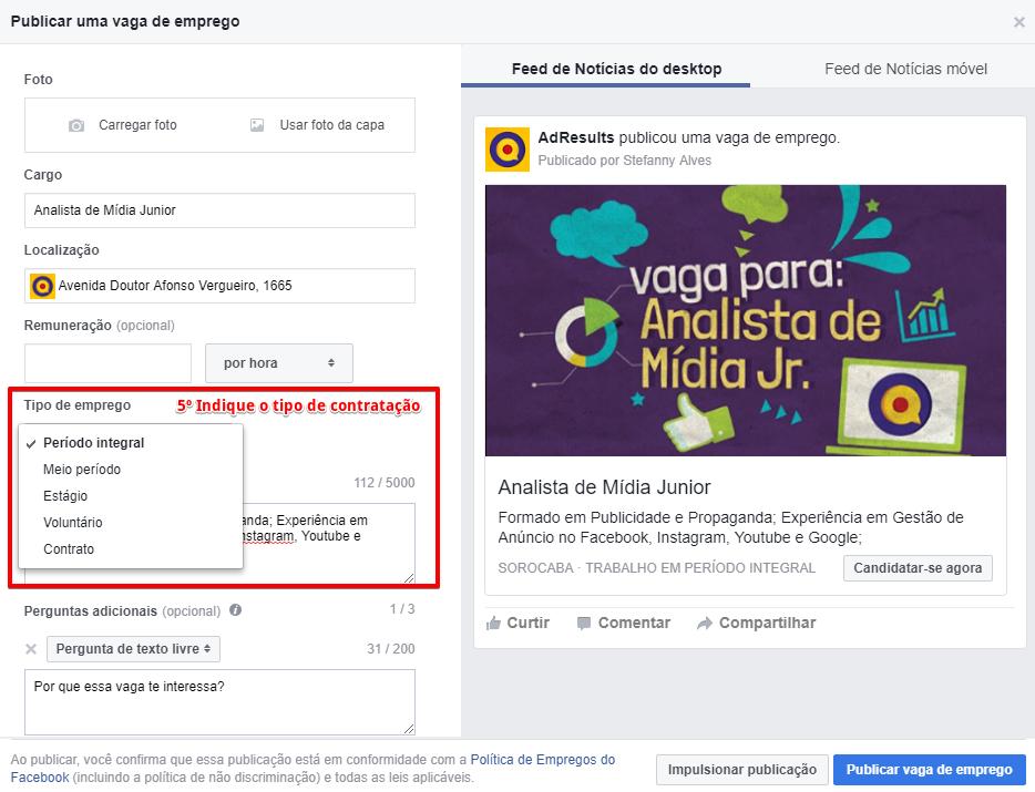 Como anunciar uma vaga de emprego pelo Facebook - Passo 5