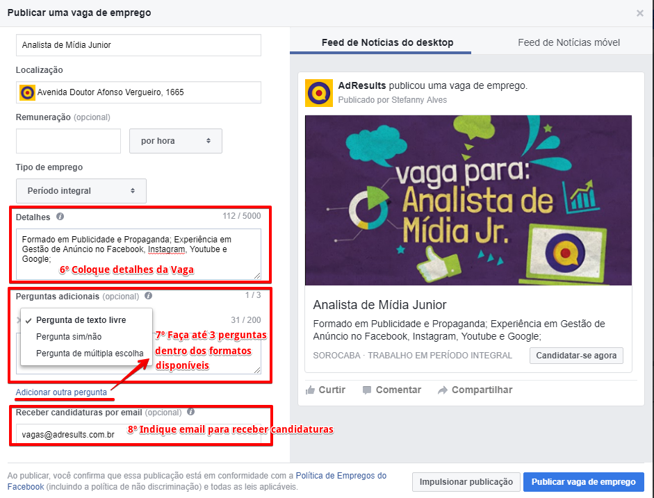 Como anunciar uma vaga de emprego pelo Facebook - Passo 6