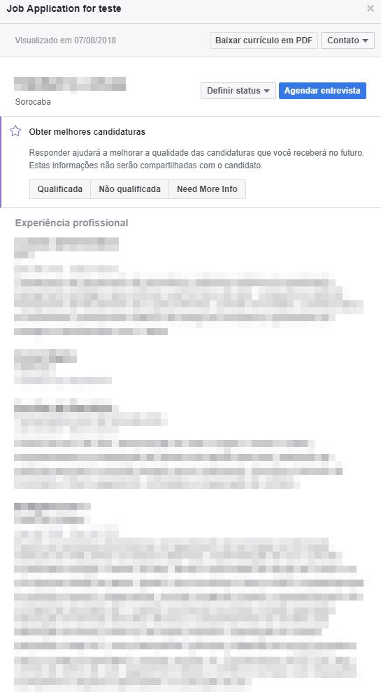 Como gerenciar as candidaturas de vagas enviadas pelo Facebook - Passo 2