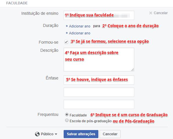Como cadastrar currículo no Facebook - Passo 4