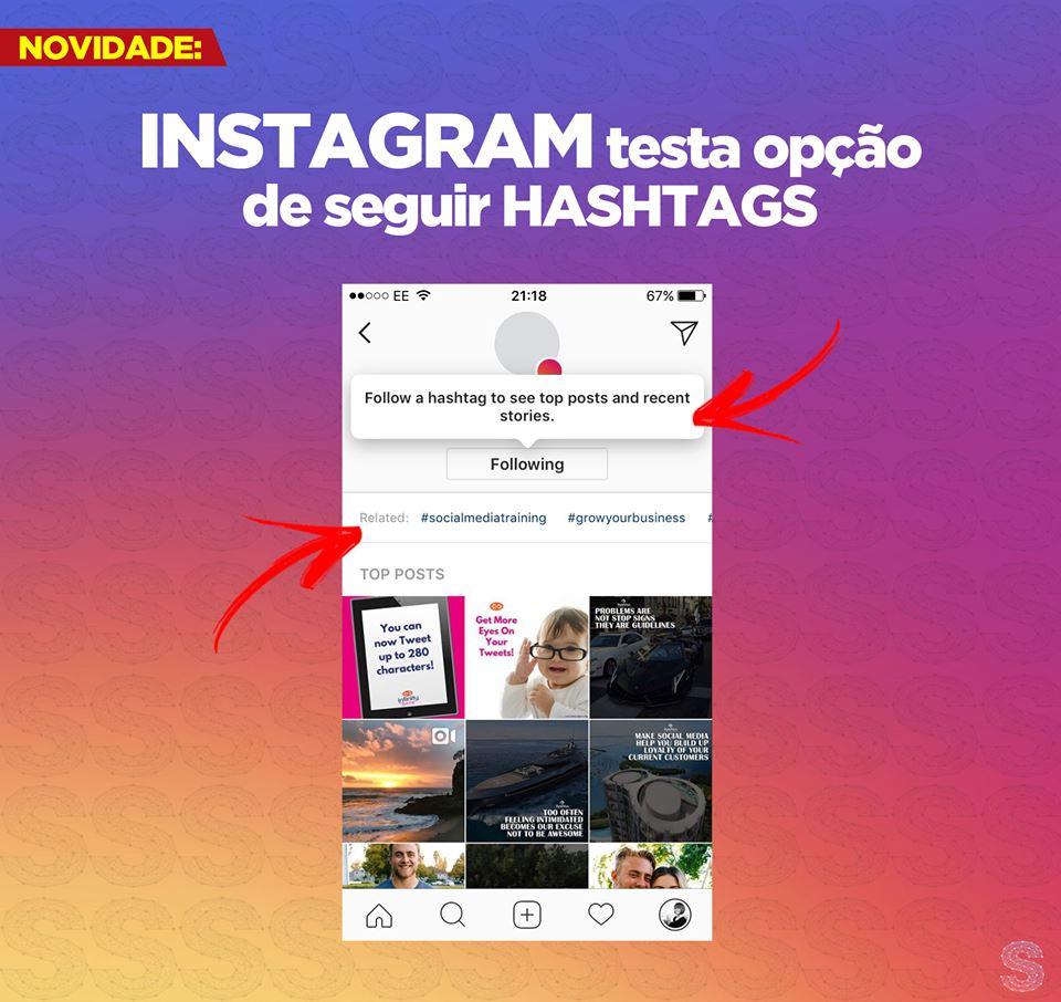 Opção de seguir hashtag no Instagram