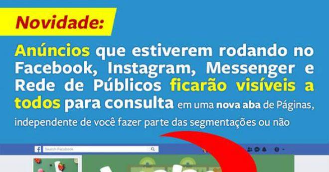 Novidade: Facebook anuncia que vai ampliar transparência em anúncios em todas as páginas